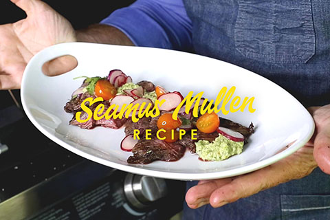 Steak with tomatillos sauce by Seamus Mullen